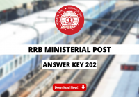 RRB Ministerial Post Answer Key 2021