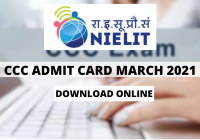 CCC Admit Card March 2021 Out: NIELIT Exam April Online Form