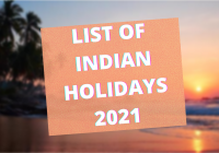 List of indian Holidays 2021