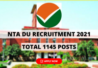 NTA DU Recruitment 2021 for 1145 Jr Assistant, Assistant, Steno, JE and Other Posts - Apply Online