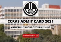 CCRAS Admit Card 2021 Out: UDC and LDC Exam on 11 April, Check NIELIT Group C Syllabus Here