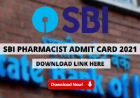 SBI Pharmacist Admit Card 2021 Out