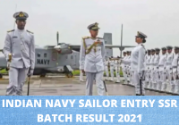 Indian Navy Sailor Entry SSR / AA August 2021 Batch Result 2021