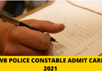 WB Police Constable Admit Card 2021